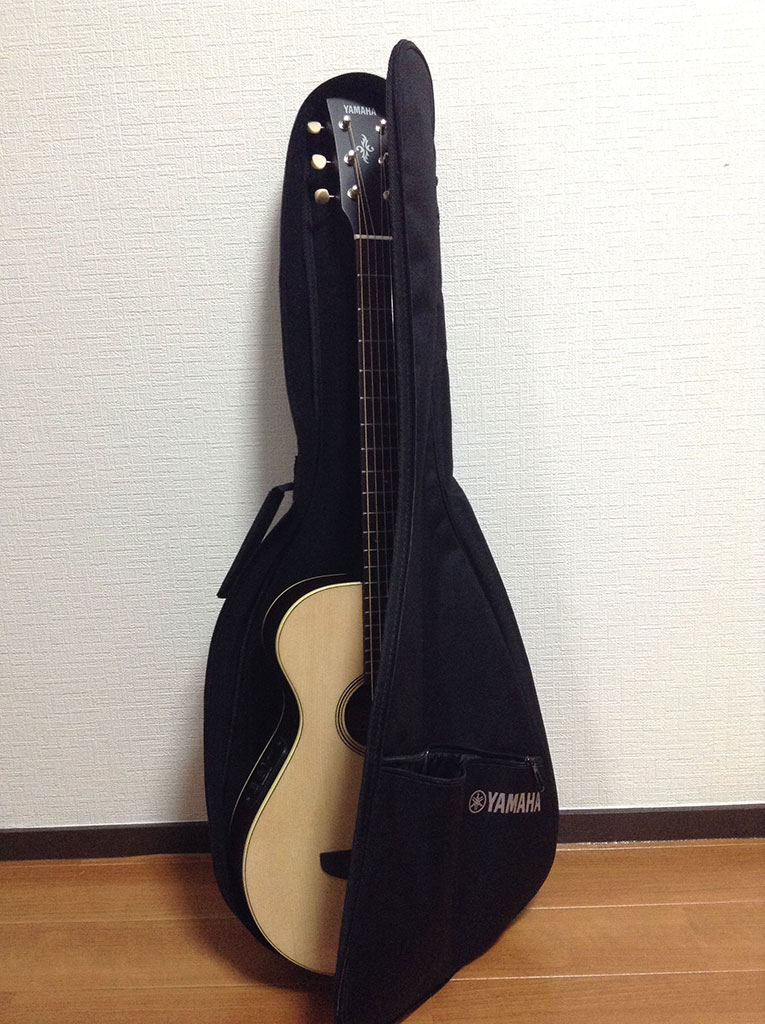 ギター収納するとこんな感じ。口が大きく開くのでしまいやすいです。
